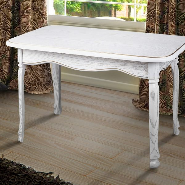 Стол Гаити Микс Мебель белый с патиной в интерьере