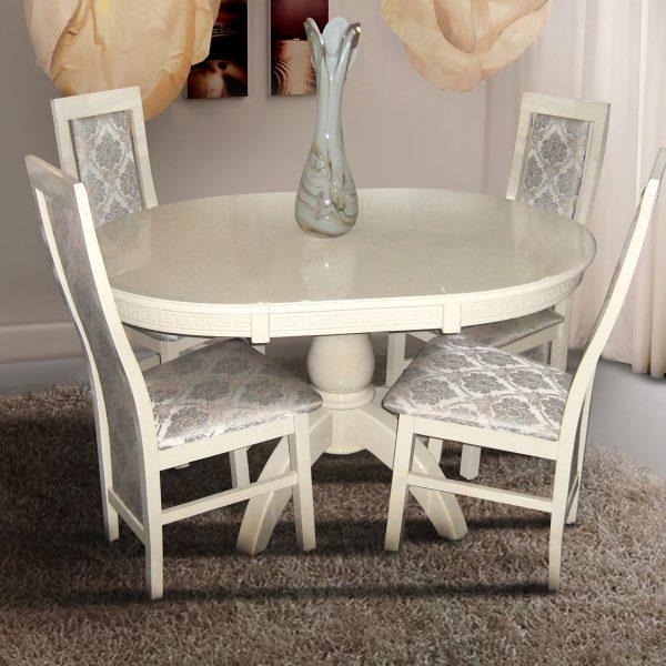 Стол Престиж Микс Мебель белый без патины со стульями