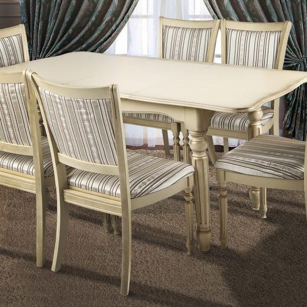Стол Венеция Микс Мебель слоновая кость со стульями