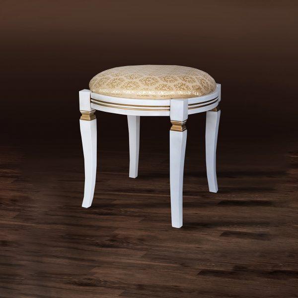Банкетка круглая Микс Мебель белая с патиной