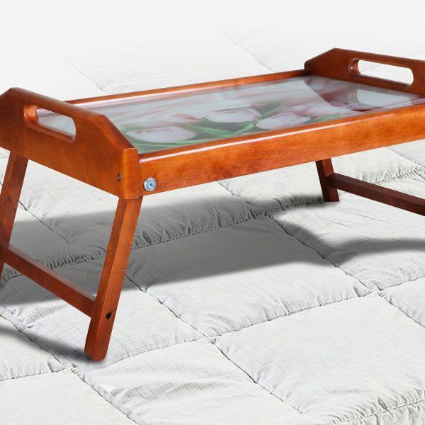 Столик для завтрака со стеклом Микс Мебель орех
